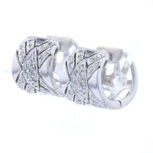 White Gold Diamond Huggie Hoop Earrings - 14k Round Cut .26ctw Milgrain Pierced