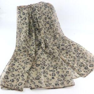 Natural Cream Leopard Print Animal women Face Cover Wrap Silky Chiffon Scarf