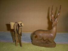 """Hand Carved 6"""" Wood Gazelle Antelope & a 3-1/2"""" tall Camel  African Sculptures"""