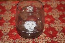 New Orleans Saints NFL Football Glasses Rare 12 oz Smoked Rolly Polly Vintage