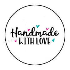 """48 HANDMADE WITH LOVE ENVELOPE SEALS LABELS STICKERS 1.2"""" ROUND"""