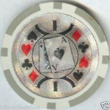 5 pc 5 colors Ace King Suits Laser poker chips sample set #162 Big Slick