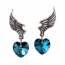 Alchemy El Corazon Heart Drop Pewter Earrings - Crystal Droppers England