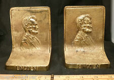 Antique Abraham Lincoln Bust Bradley & Hubbard Cast Iron Sculpture Bookends B&H