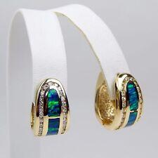 Opal In-Lay & Diamond Huggie Style Earrings 14 kt Yellow Gold #9719