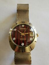 Rare Vintage Longines Admiral Automatic 5 Star 10Kgf  diamond wood dial watch