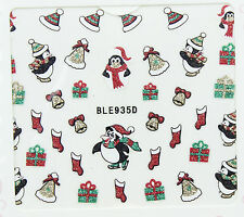 Christmas Glitter Hats Penguins Stocking Bells Gifts 3D Nail Art Stickers Decals