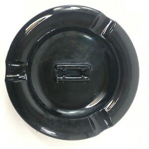"Vintage Ashtrays, Round Black Glass 3 Rests 5"""