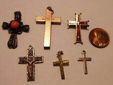 VINTAGE 6 PIECE RELIGIOUS LOT CROSSES GOLD FILLED SILVER PENDANT CHARMS & MORE