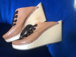 H&M Unique Swedish Hasbeens Brown Leather Shoes Wooden Clogs Lace Up Size 5 (38)