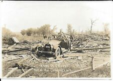Photograph of Ruins & Damaged Automobile Lone Rock Wisconsin Tornado 1918
