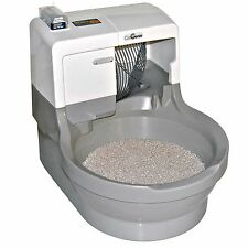 Automatic Self Washing Flushing Cat Litter Box Pet Kitten Kitty Waste Pan Toilet