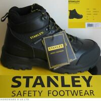 MENS BLACK STANLEY SAFETY WORK BOOTS FOOTWEAR STRONG TOUGH SIZE 8 NEW BOXED
