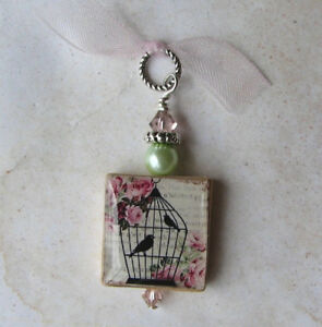 Birds in a Cage Pendant Charm Vintage Rose  Pretty Birdie Tweet Altered Art