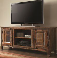 NEW RUSTICA WEATHERED OAK FINISH WOOD ENTERTAINMENT CONSOLE TV STAND CABINET