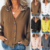 V Neck Plain Tops Women Blouse Casual Shirt Top Long Sleeve Buttons Loose
