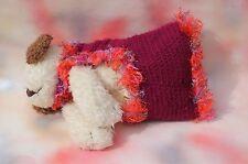 Handmade Dog Sweater Coat Maroon Flowers Small FREE SHIPPING!