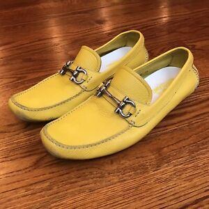 Salvatore Ferragamo PARIGI Bit Driving Moccasin Loafer Shoes Yellow Leather 11 D