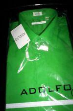 NWT! ADOLFO SPREAD COLLAR DRESS SHIRT REGULAR FIT BRIGHT GREEN 16 16.5 34 35 LG