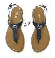 MK Michael Michael Kors Charm Thong Buckle Up Flat Sandal Saffiano Leather Navy