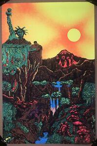 Original Vintage Blacklight Poster The Beatles Mount Rushmore Lost Horizon 1970s