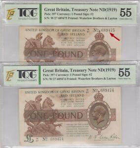 Mazuma *GN203 TQG Great Britain 1919 1 Pound W27 689474-475 2 Running AU55