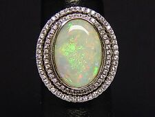 Silver 925 Australian opal ring, 3.6 carat opal stone IMPRESSIVE SIZE GREAT FIRE