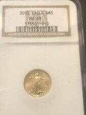 2003 US 1/10th OZ .999 Fine American Gold Eagle $5 Coin NGC MS69 BU MS