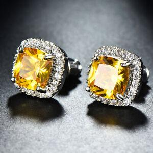 New Summer Jewelry 8MM Yellow Citrine White Topaz Gems Women Stud Earring Silver