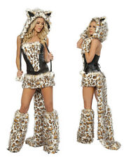 Sexy Women Leopard Outfit Fur Costumes Cosplay Party Fancy Hoodie Uniform Dress