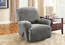 Sure Fit Stretch Pique Recliner Slipcover in Flannel Gray / Grey One Piece