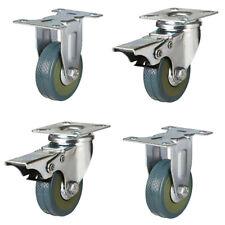 More details for 50mm castors x 4 rubber casters 50mm  2 braked and 2 fixed castors