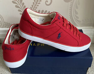 BNIB MENS POLO RALPH LAUEN SPIRING-NE SHOES/TRAINERS/SNEAKERS IN RED UK 9 (43)