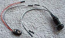 EMG SOLDERLESS Wiring BLACK LONG BARREL PANEL JACK Battery Clip 152B Ibanez NEW*