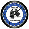 BLUE FITNESS ROOM WALL CLOCK PERSONALIZED WEIGHTS GYM WORKOUT CENTER EXERCISE