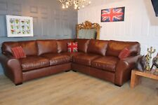 LAURA ASHLEY bradford brown leather corner sofa suite cost new £4500