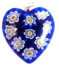 NEW PENDANT Heart Murano Glass Italy Millefiori Moretti Murrine Yellow Blue