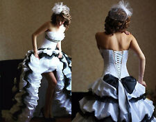 Gothic High Low Wedding Dresses Vintage White & Black Satin Bridal Gowns Custom