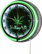 "18""  It's Always 4:20 Marijuana Weed Pot Leaf Green Double Neon Wall Clock"