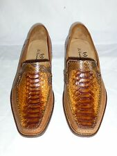 New$895 sz 9-10 Python Snake LEATHER Loafers slip on Dress Shoes ITALY E 42-43