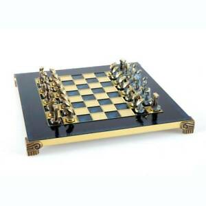 Manopoulos Cycladic Art Chess Set - Bronze Material - Blue Handmade chess Board