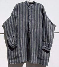 """Eskandar NAVY STRIPED Medium Weight Linen 34"""" Long Smock Tunic w/Pockets $895"""