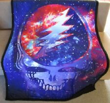 New Grateful Dead Cosmic Steal Your Face Fleece Sherpa Back Gift Throw Blanket