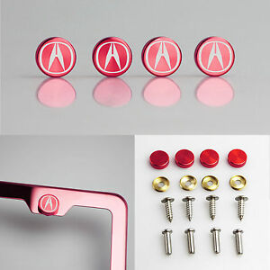 Laser Etched Red Aluminum Acura License Plate Frame Bolts Fastener Screws Cap