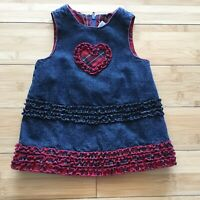 Childrens Place Baby Toddler Girl Dress Jumper Denim Blue Red Ruffles Lined 3-6M
