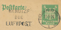 """DT.REICH """"BENUTZE DIE LUFTPOST / FRANKFURT (MAIN) / 1"""" Maschinestempel 5 Pf GA"""