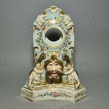 Antique English Porcelain Clock Case - Bearded Mask Face w/ Playful Cherubs