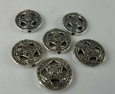 15pcs Tibetan silver alloy flower Loose Spacer  bead 14x3mm