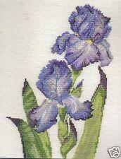 "Purple Iris Cross Stitch Kit DMC Medici Range 14 Count 8"" x 10"""