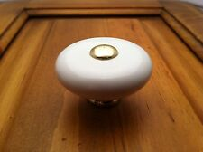 "NEW 1-1/2"" WHITE BUTTON CERAMIC CABINET DOOR KNOB KNOBS FREE SHIPPING"